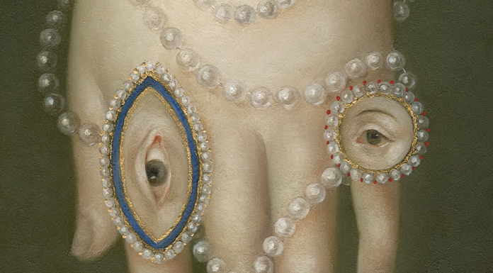 """Hand With Pearls and Lover's Eyes"" 7x5 inches, oil on panel © Fatima Ronquillo, 2017"