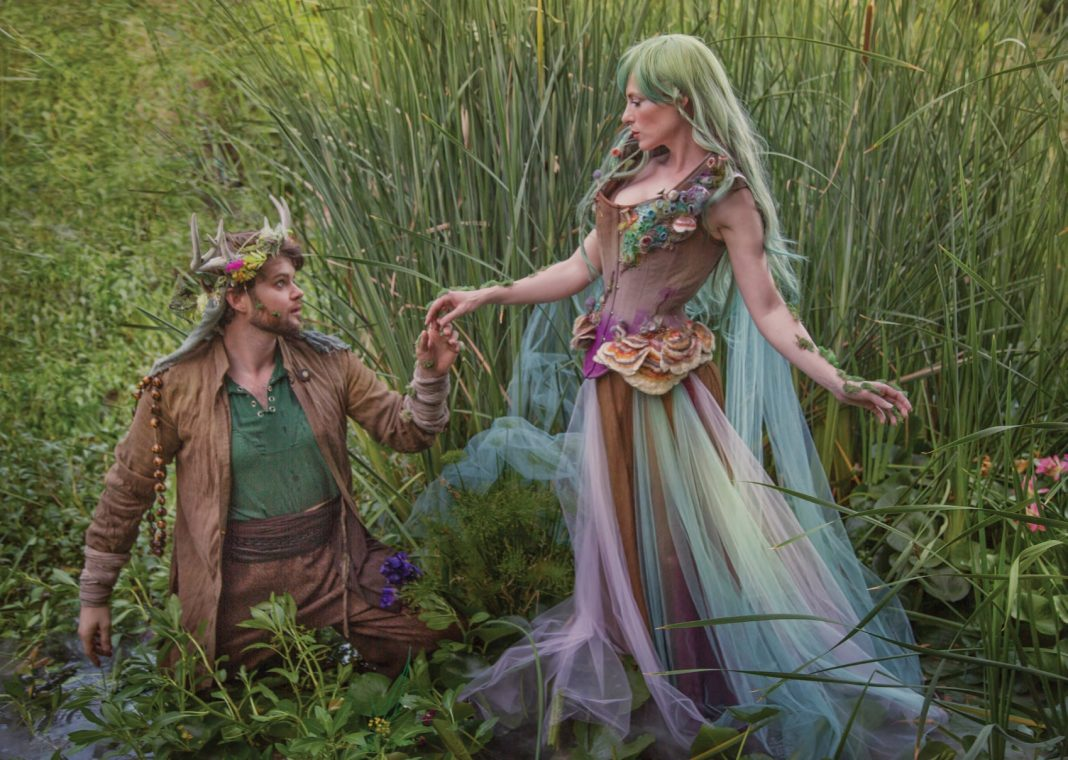 Photography: Elizabeth Elder Costume Designer: Joni Steinmann of Rainbow Curve Corsetry Models: Jessica Dru, Bryan Forrest Additional costuming (Bryan's costume): Christy Hauptman Location: The Forrest Manor Enchanted Living Magazine Faerie Magazine