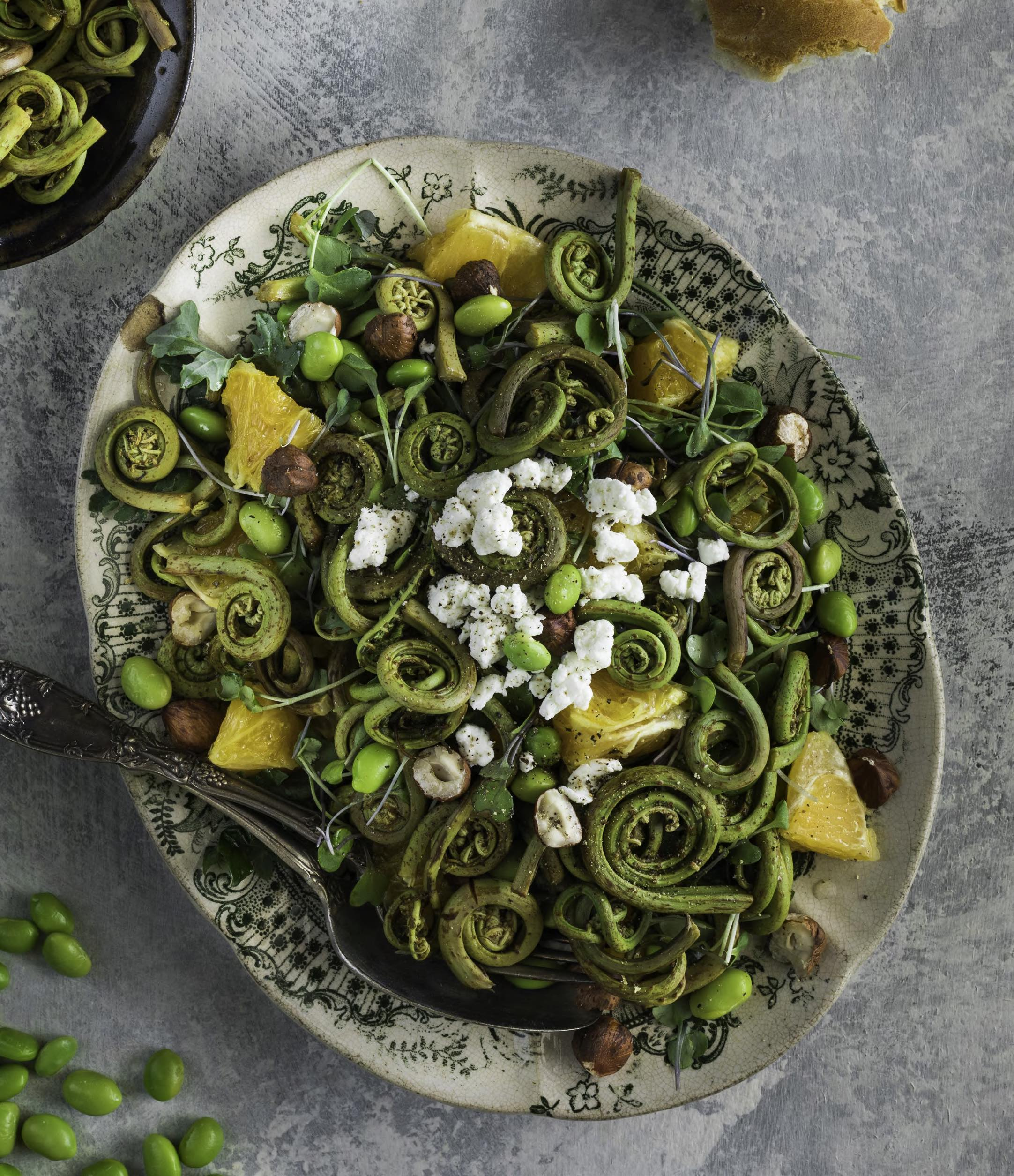 FIDDLEHEAD EDAMAME SALAD WITH ORANGE AND HAZELNUTS Enchanted Living Magazine Recipe