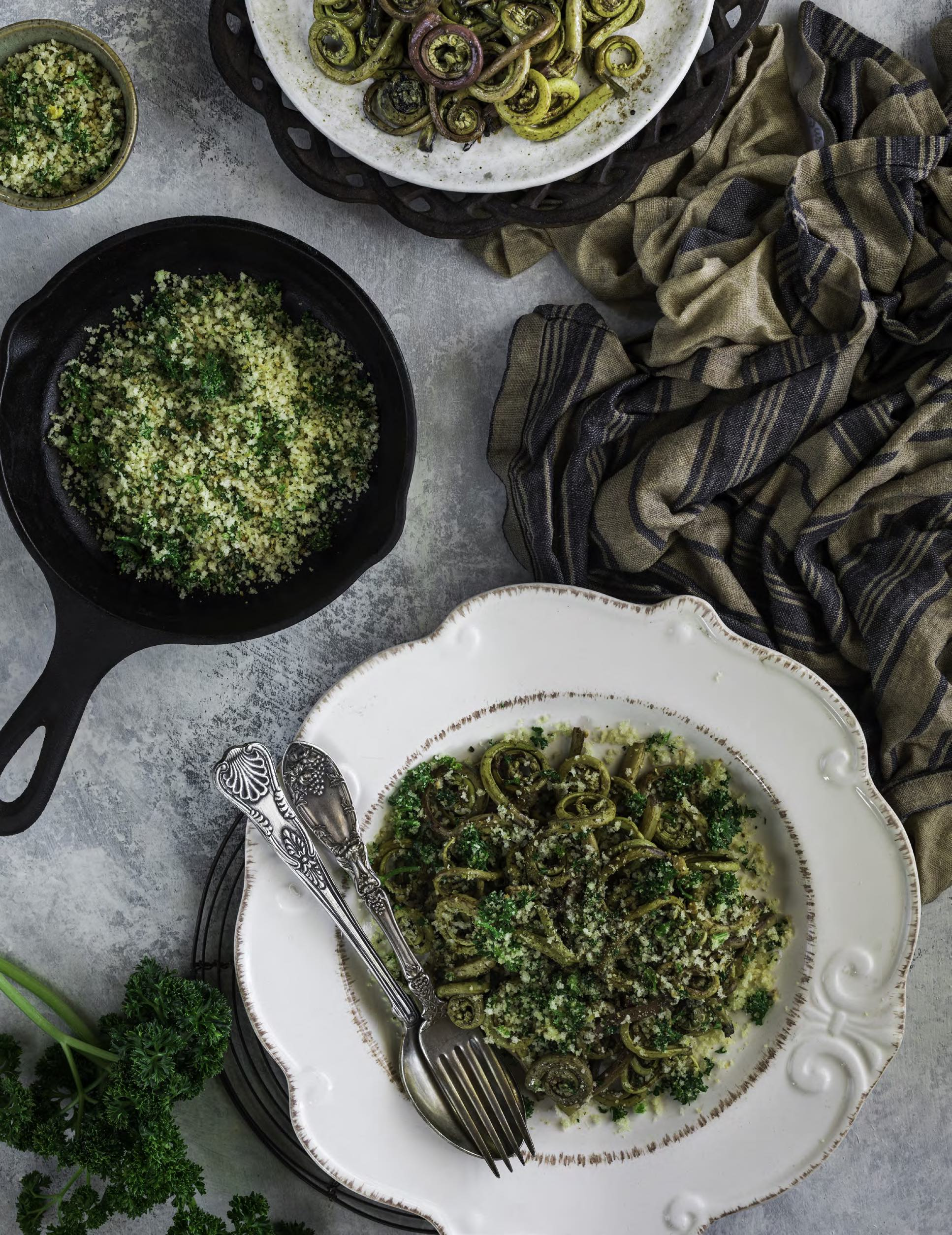 SAUTÉED FIDDLEHEADS WITH TOASTED BREADCRUMBS Enchanted Living Magazine Recipe
