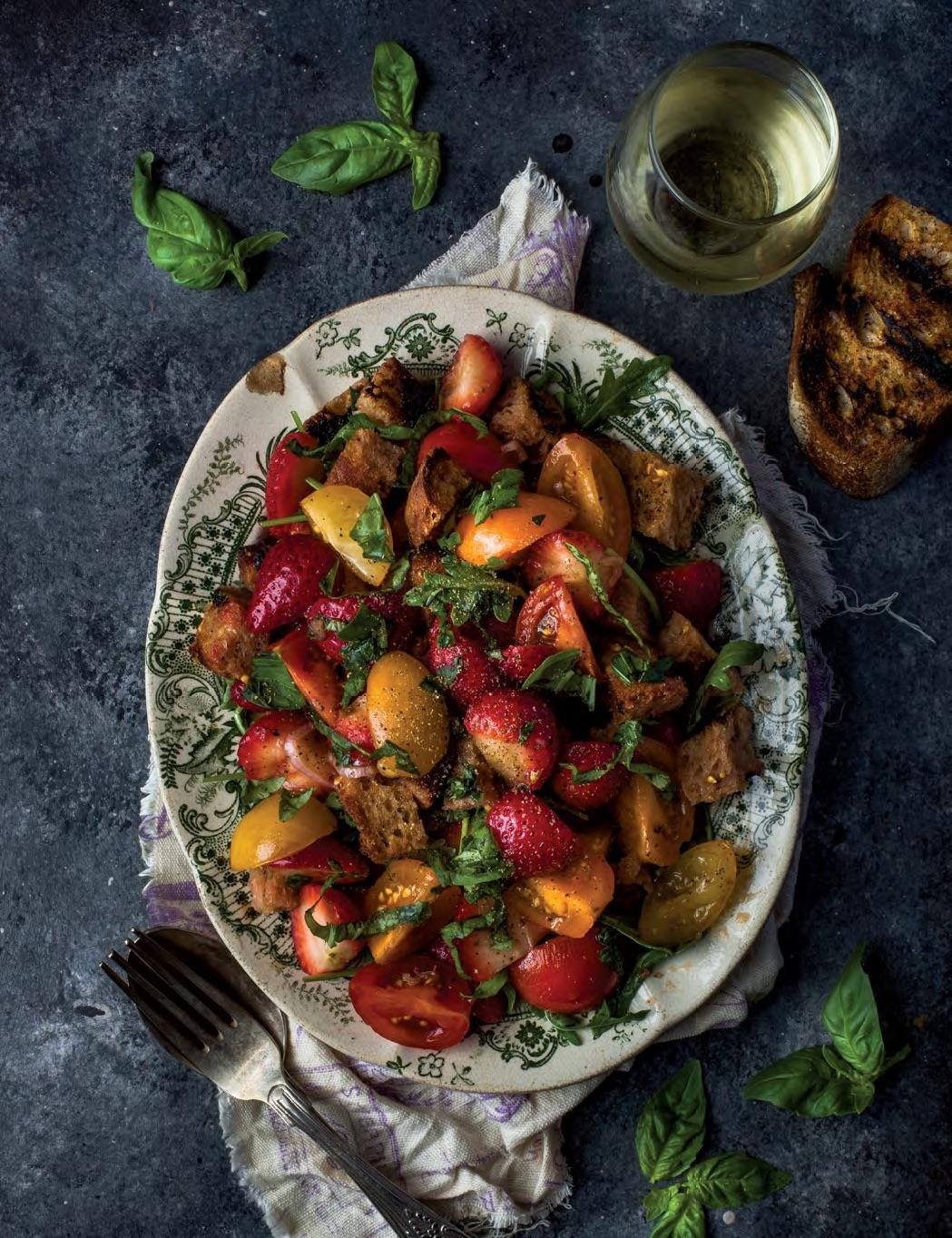 STRAWBERRY TOMATO PANZANELLA Enchanted Living Magazine