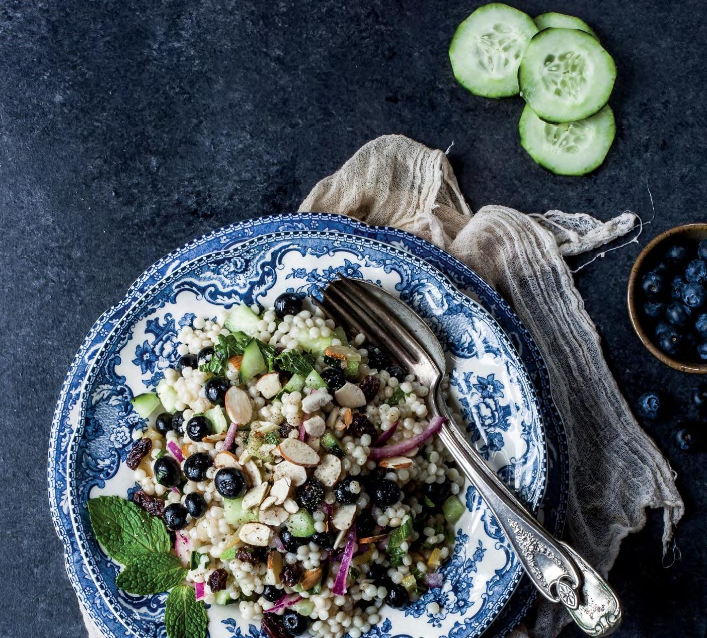 ISRAELI COUSCOUS WITH BLUEBERRIES, MINT, AND PRESERVED LEMON Enchanted Living Magazine