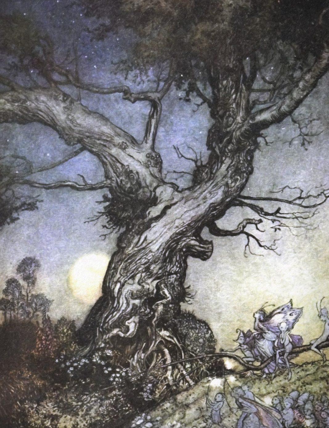 Fairy folk by an old gnarled tree by Arthur Rackham.
