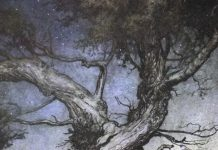 Fairy folk by an old gnarled tree by Arthur Rackham.