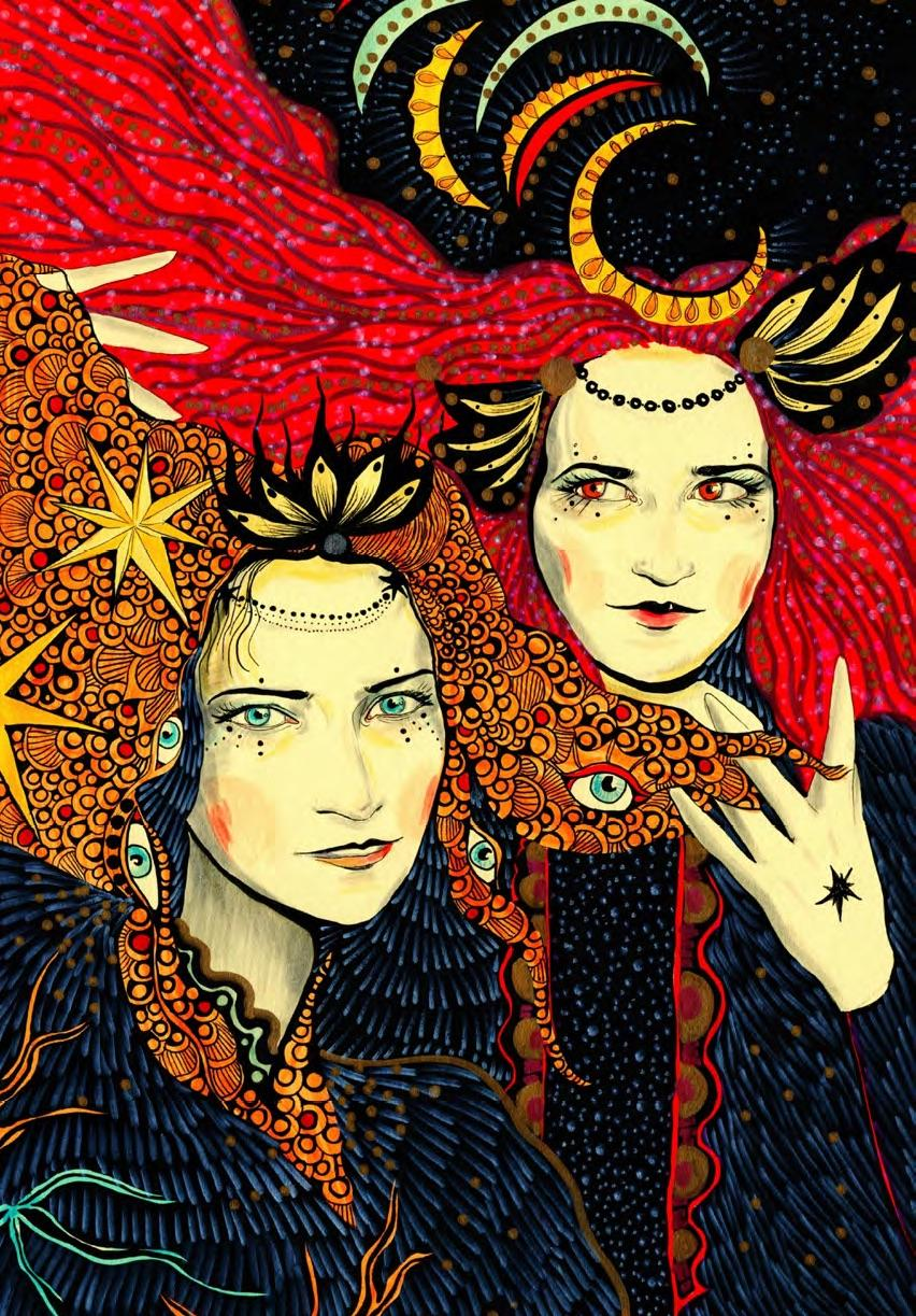 Portrait of Daria and Kambriel as Art Nouveau sisters