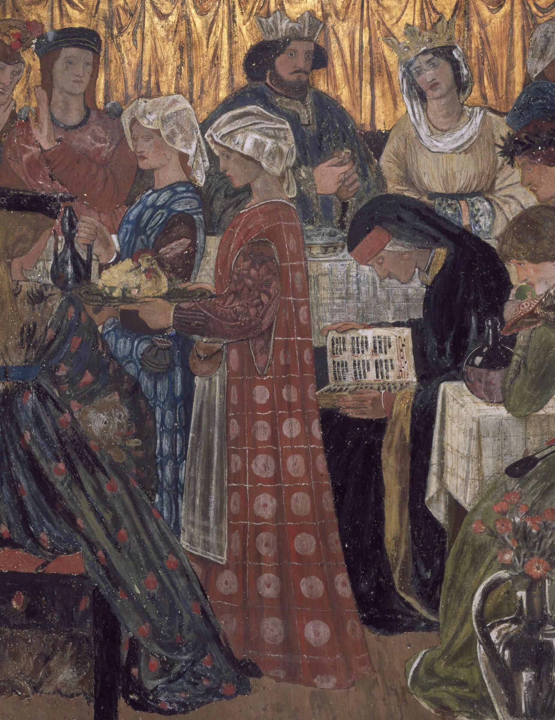 Detail from a series depicting the wedding of Sir Degrevant (wall painting), Edward Coley Burne-Jones. National Trust Photographic Library:John Hammond : Bridgeman Images
