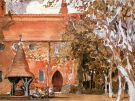 Red House, Bexleyheath painted by Walter Crane. Wikimedia Commons.