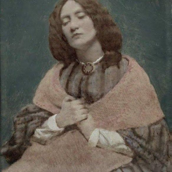 Elizabeth Eleanor Siddal, gouache over a photograph attributed to Dante Gabriel Rossetti. Wikimedia Commons.