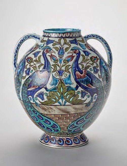 Peacock vase, 1885, designed by William Frend De Morgan, manufactured by Merton Abbey Pottery.