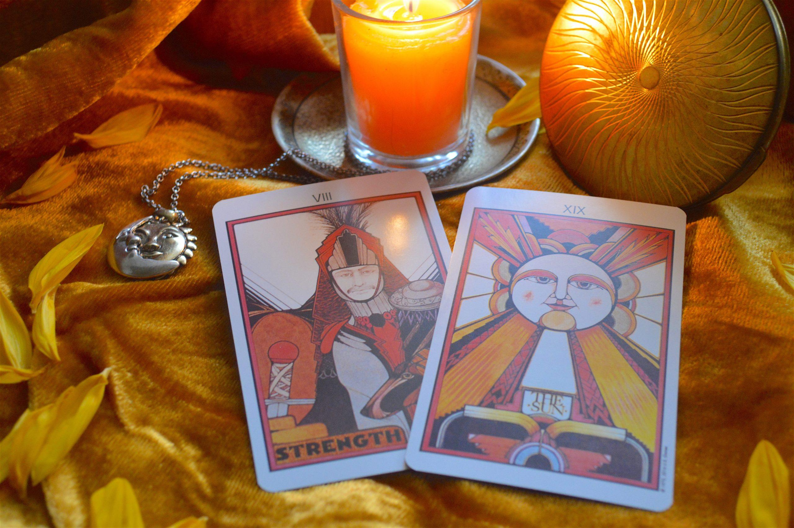 LEO POWER CARDS: Strength and The Sun. Express your passions with inner strength, resilience, and loving energy. Radiant warmth and vitality is the key to success. From the Aquarian Tarot deck by David Palladini.