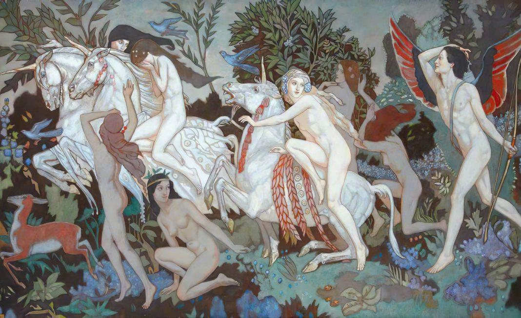 Unicorns by John Duncan, c. 1933.