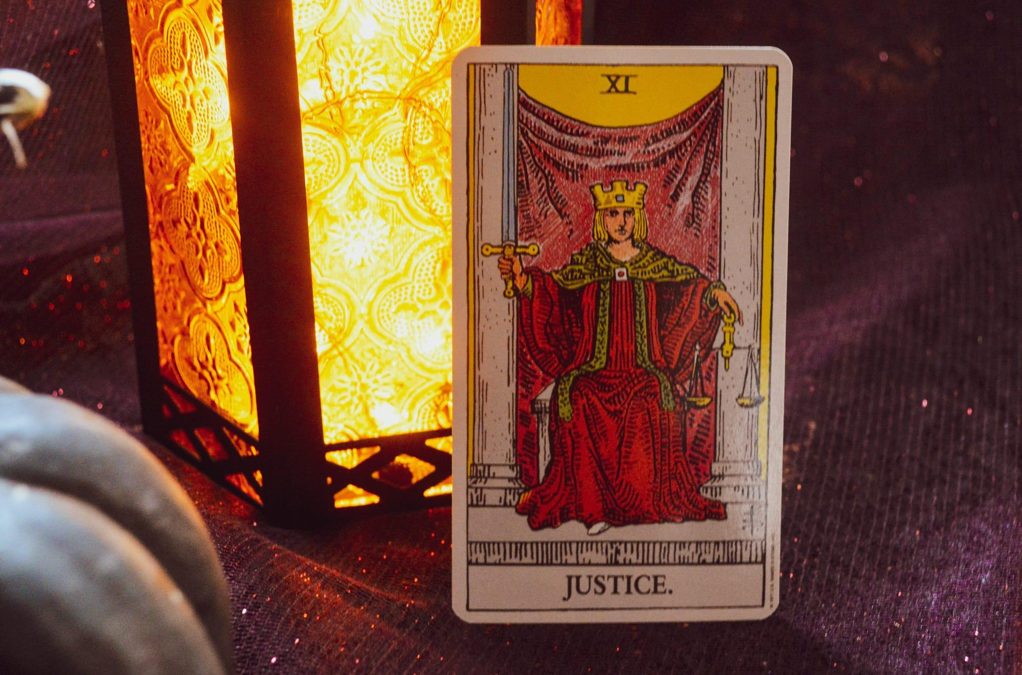 LIBRA POWER CARD: JusticeBalance intuition with expertise. Karmic laws are in play. Use your third eye to see clearly. Card from rom the Rider-Waite deck.