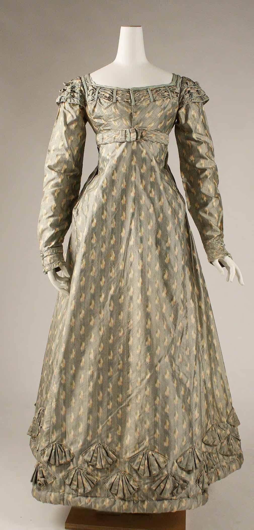 Dress, circa 1820 (fabric from late 18th century), British. Silk. The Metropolitan Museum of Art, New York, Purchase, Irene Lewisohn Bequest.