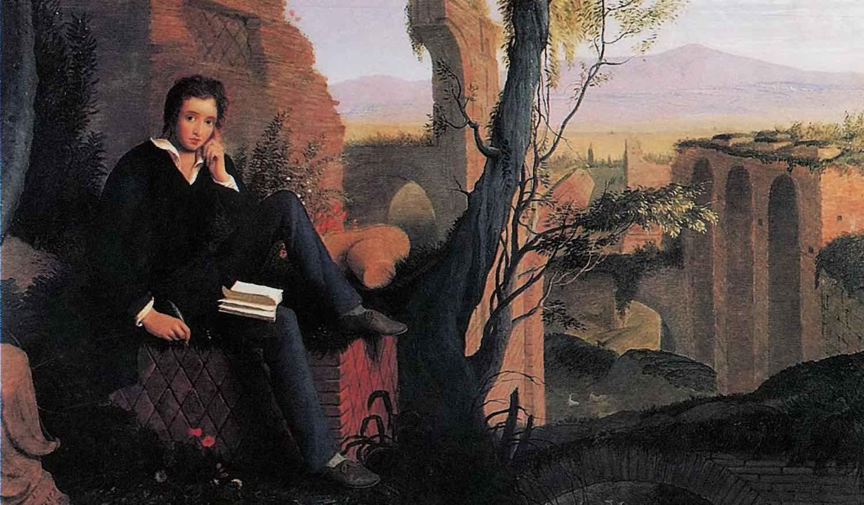 Posthumous Portrait of Shelley Writing Prometheus Unbound, 1845, by Joseph Severn