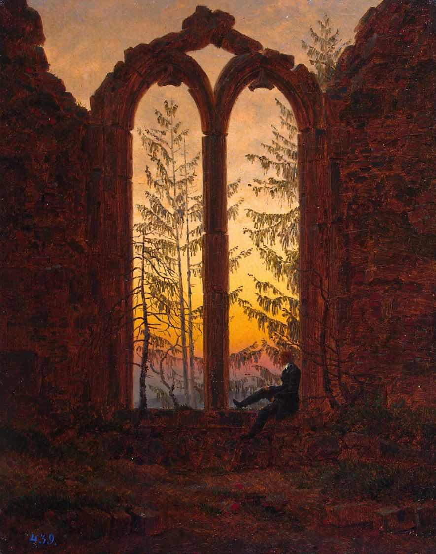 The Dreamer (Ruins of the Oybin Monastery),1840, by Caspar David Friedrich.