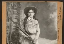 Annie Oakley - famous rifle shot and holder of the Police Gazette championship medal
