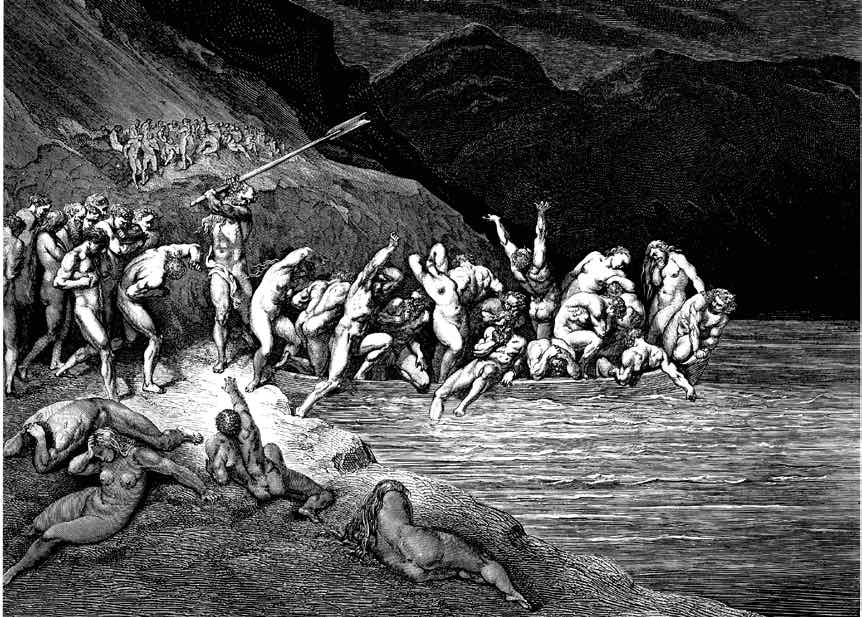 Dante's Inferno. Plate X- Canto III- Charon herds the sinners onto his boat, 1857. Images courtesy Wikimedia Commons.