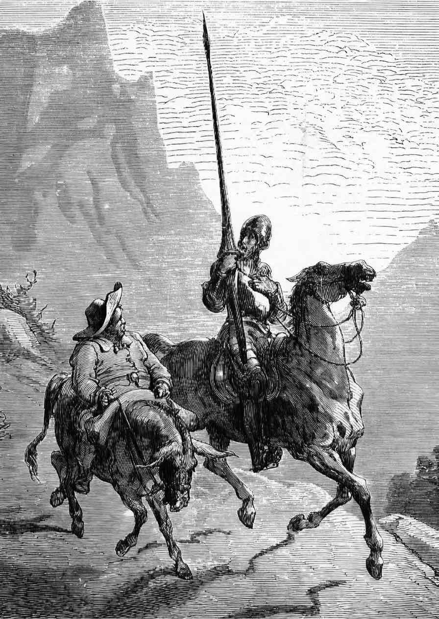 Engravings by Gustave Doré. Above left- illustration 5 for Miguel de Cervantes's Don Quixote, 1863.