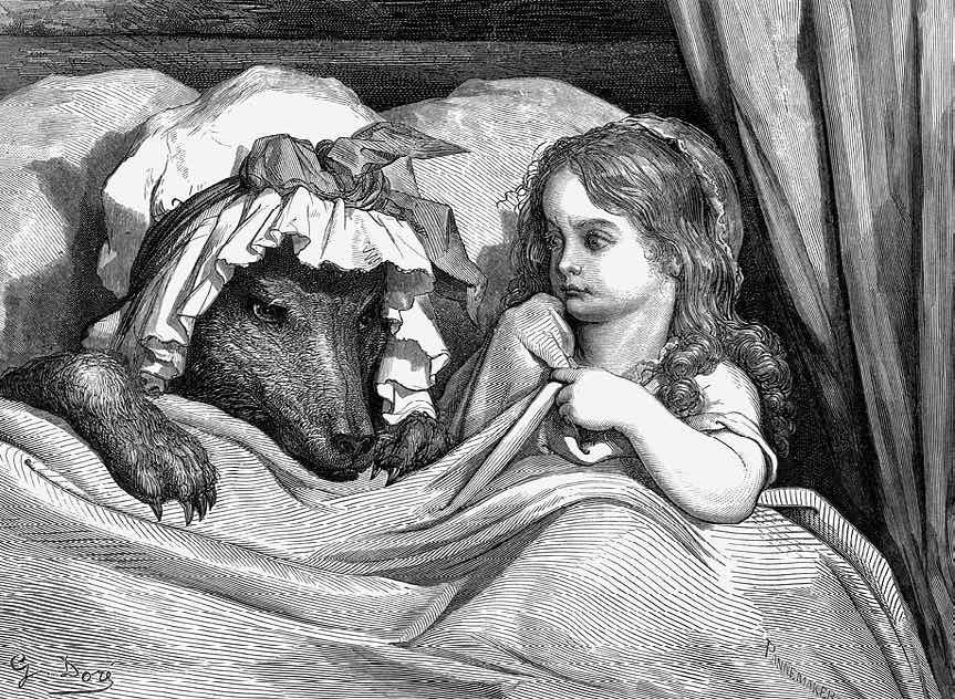 The Disguised Wolf and Little Red Riding Hood, 1862.