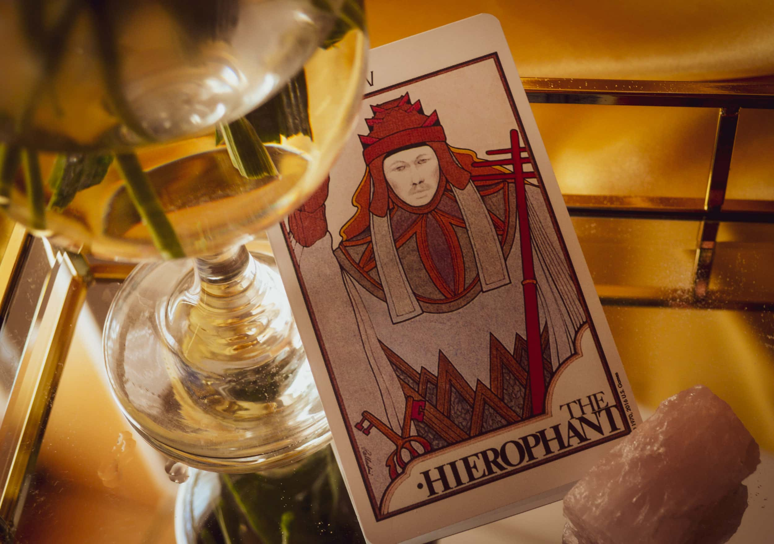 Taurus Power Card: The Hierophant Seek divine wisdom. You will find strength through endurance, persistence, and inspiration. From the Aquarian Tarot by David Palladini.
