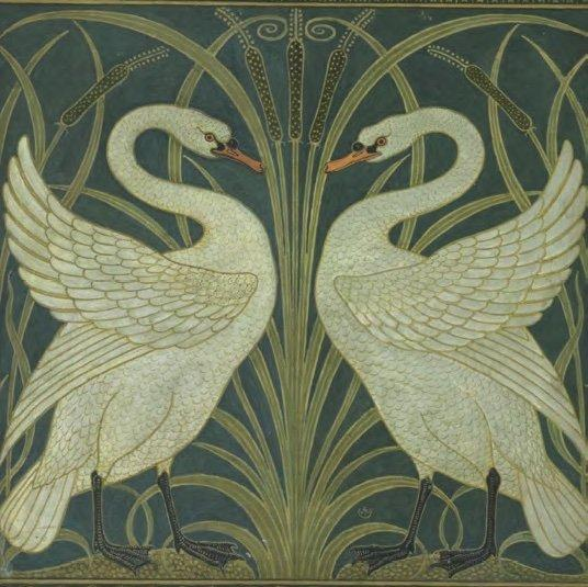 Two Swans, circa 1875, by Walter Crane. Wikimedia Commons