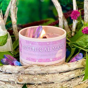 Firelight Fables Candles Fantasy Inspired Mythical Creature Candles Topped with gorgeous gemstones, these wood-wick non-toxic candles capture the essence of four of mythical creatures: the whimsical Unicorn, the captivating Mermaid, the breath-taking Golden Dragon, and the fiery Phoenix. Use code ENCHANTED15 for 15% off your purchase.