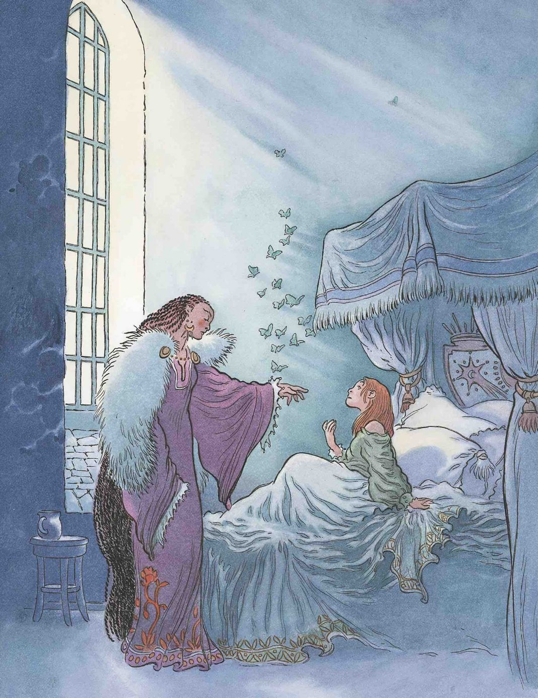 Illustration by Charles Vess for Honeycomb. Chapter 66, The Dancing-Shoes
